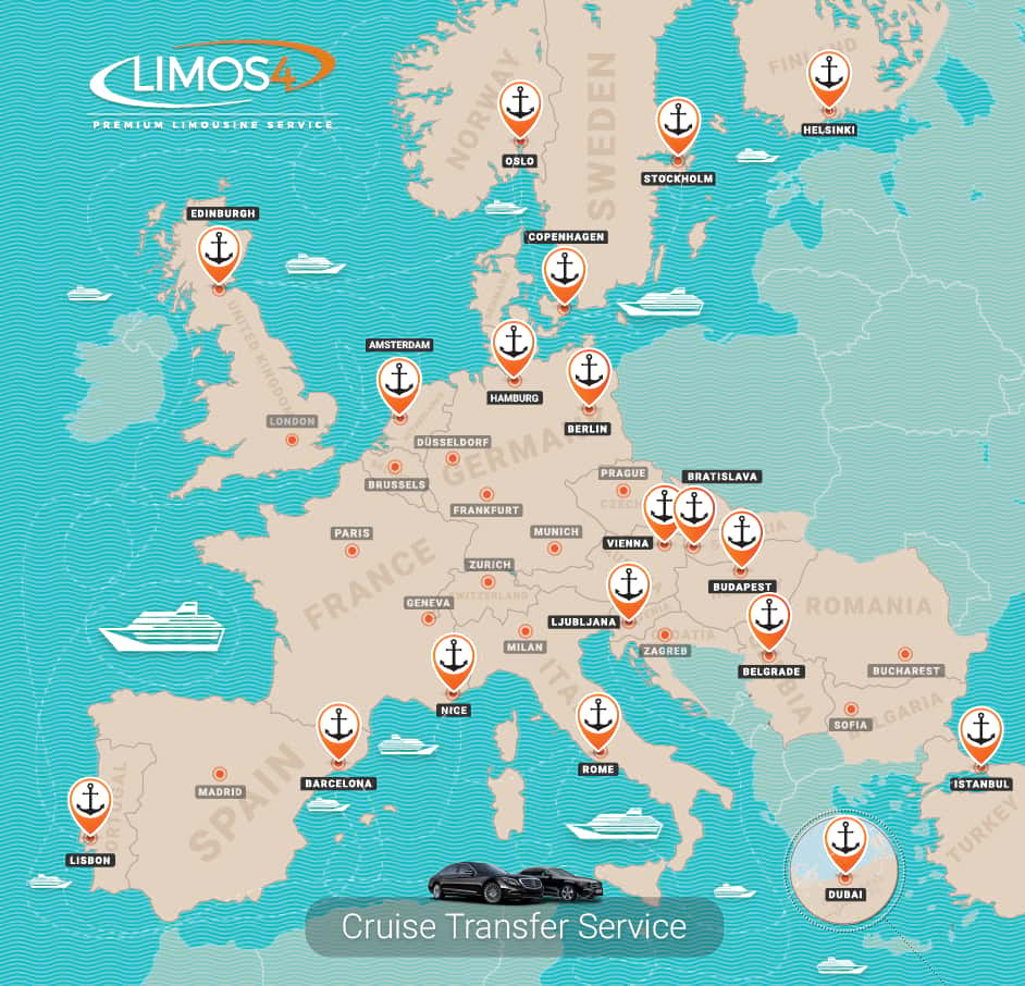 Limos4 Cruise Transfer Service Across Europe